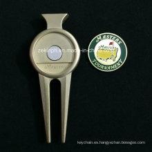 Herramienta de reparación de Divot Golf alta calidad de aleación Zinc personalizados con marcador