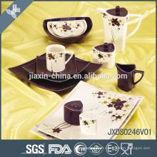 46PCS Ensemble de dîner en porcelaine de forme carrée