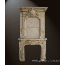 Indoor Decoration Travertine Overmantel Fireplace For Sale