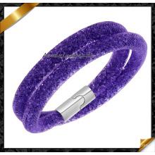 Hot Sale Mesh Double Stardust Bracelets avec Crystal Stones Filled Magnetic Clasp Charm Bracelets (FB0128)