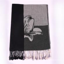 Ladies′ Black Cotton Scarf Winter Pashmina with Jacquard Flower Pattern