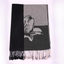 Lenço de algodão preto para senhoras Pashmina de inverno com padrão de flor Jacquard