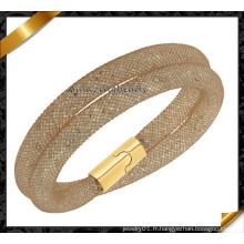 Haute qualité Deux couches de bracelet en maille magnétique brun en gros (FB0126)