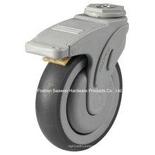 Bolt Hole com tipo de freio Plastic Medical TPR Caster