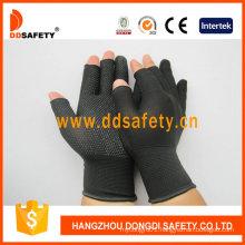 Black Nlyon Shell Black PVC Dots Seamless Half Finger Cotton Working Gloves Dkp529