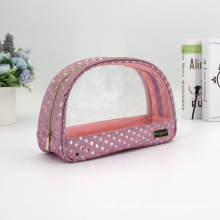 ISO BSCI Factory Clear Glitter Cosmetic Bag Printing Stars Shiny Pink Glitter Makeup Bag