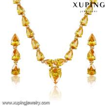 Moda de luxo em forma de coração banhado a ouro cz conjunto de jóias de diamantes para o casamento (s-9)