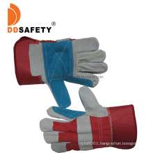 Reinforced Blue Cow Split Leather Palm Gloves with Red Cotton Back Rubberized Cuff