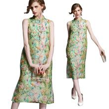 Top quality gorgeous sleeveless midi Silk summer dress women
