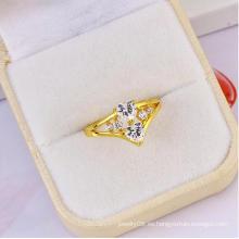 Nuevo anillo de diamante en forma de corazón Xuping elegante caliente doble en forma de corazón