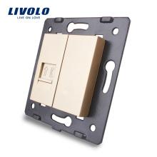 Livolo Gold Accessoire Prise murale La base de la prise téléphonique RJ11 / Prise VL-C7-1T-13