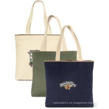 Bolso de totalizador de la playa de la lona promoción venta por mayor algodón mano bolsos mujer