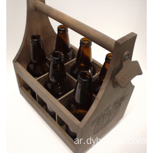 Craft Caddy Attached Bottle Opener Wooden Beer Carrier 6 Six Pack Bottle Caddy Tote Holder
