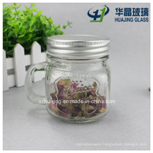 200ml 6oz Square Drinking Candy Glass Mason Jar with Handle