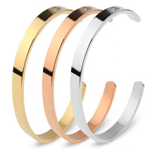 Personalized Simple Design Rose Gold 18k Gold Plated  Engraved Custom Cuff Bangle Bracelet