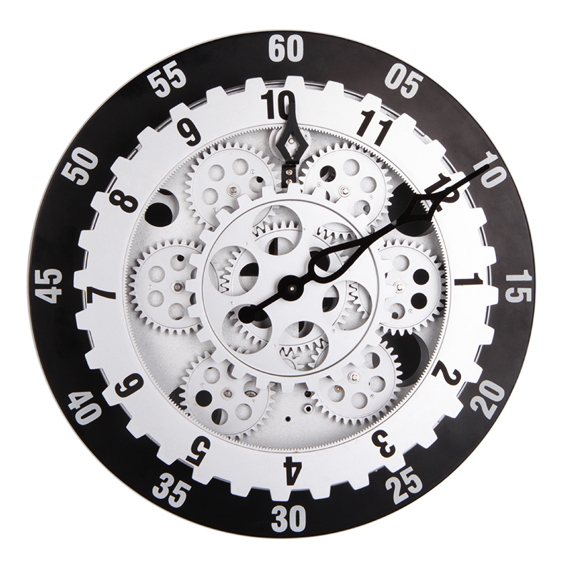 Large Gery Wall Clock Battery Powered Wall Clock