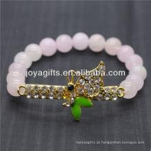 Venda Por Atacado libélula diamante com pulseira de estiramento de pedra semi preciosa 8mm