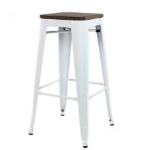 Top industrial comercial blanco del taburete de bar del hierro de los muebles baratos al por mayor con la silla de madera de la barra del tablero