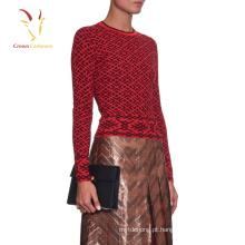 Camisola de lã tricotada Intimate da senhora Intarsia feita malha