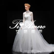 Elegante appliqued alibaba encaje ver a través de vestido de novia en vestidos de novia / China último collar de musulmanes vestido nupcial
