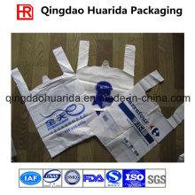 Изготовленный на заказ Логос напечатанный HDPE Пластиковые в розницу футболки рынок хозяйственная Сумка
