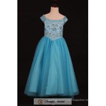 El vestido hecho a mano del partido del vestido de la muchacha de flor rebordea los vestidos cristalinos del baile de fin de curso