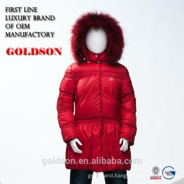 European Design Long Warm Winter Children Sets Girl Red Long Goose Down Jacket with Fur Hood