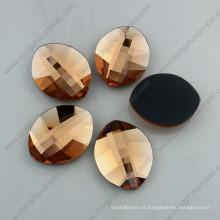 Light Peach Leaf Shape Flatback Glass Stones (DZ-1294)
