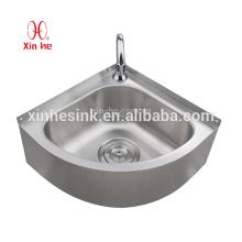 Stainless Steel Outdoor Pedestal or wallmount wash basin, Stainless Steel Corner Sink