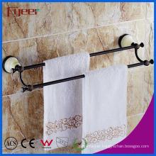 Fyeer Ceramic Base Black Bathroom Accessory Brass Double Towel Bars