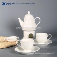 Blanco puro diseño del té del vintage del buen diseño, té de cerámica para un sistema al por mayor