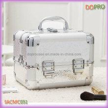 De tamaño mediano de aluminio portátil caso de maquillaje brillo (sasc051)