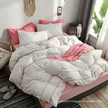 High Quality Modern Design Forces Dorm Printed Stripe Cotton Bed Sheet Set