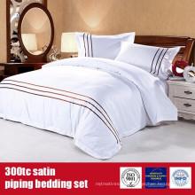 100% Baumwolle 300TC Satin Piping Luxus-Bettwäsche für Hotels