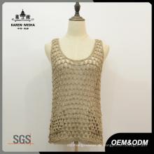 Damen-beiläufiges Sleeveless Net-Taschen-Westen-Strickjacke