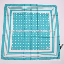 2014 bufanda blanca azul de seda del punto de polca de la marca de fábrica 100%