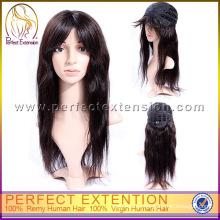 Para las mujeres blancas con flequillo barato pelucas de moda de cabello humano de beyonce