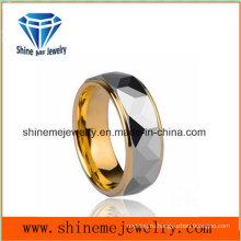Мужчины Стые Один Роскошный Плакировкой Золота Кольцо Вольфрама Кольцо