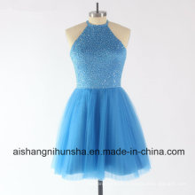 Mulheres Tulle Beading Top Sem Mangas Curtas Evening Party Prom Dresses