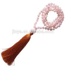 Hand verknotete rosa Kristallstein Mala Perlen Yoga Quaste Halskette