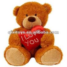 cute plush valentine teddy bear with I love you heart