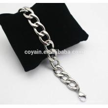 Metal steel womens silver chain bangle bracelet