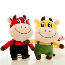 Fábrica Personalizado Macio Grande Rindo Touro Recheado Bezerro Toy Vermelho E Azul De Pelúcia Vaca Brinquedo