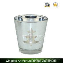 Galvanizado láser de vidrio titular de la vela para la decoración de navidad