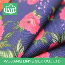 Tecido de flor de poliéster impresso digital, tecido de moda de outono