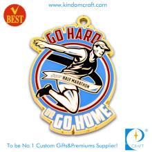 High Quality China Custom Soft Enamel Half Marathon Medal with Gold Plating
