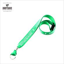 Шелковый шелкотрафаретный талисман с металлическим кольцом, зеленые шелковые печатные ремни
