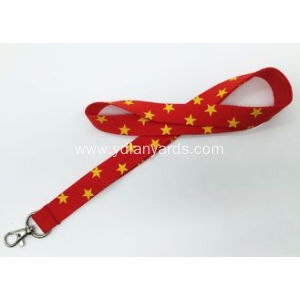 Red Silk Screen Lanyards With Yellow Star