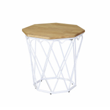 Wrought Iron Art Square Tea Table Living Room Coffee Table with Wooden Side