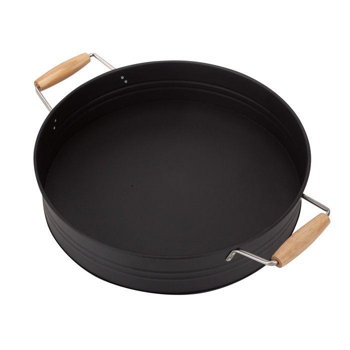 Black Serving Round Tray with Wooden Handle